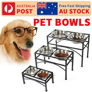Pet Dog Puppy Feeder Two Bowls Stainless Steel Food Water Stand