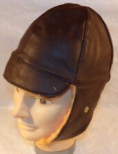 Bonnet/serre-tête cuir marron fourré de pilote/aviateur ou conducteur WW1 REPRO