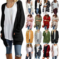 Plus Size Womens Long Sleeve Knitted Cardigan Sweater Jumper Outwear Coat Jacket