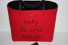 NEW RED KATE SPADE POST DRIVE BABY IT'S COLD OUTSIDE HALLIE TOTE W/DUST BAG TAGS