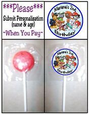 24 Paw Patrol Birthday Party OR Baby Shower Lollipop Stickers Skye Chase