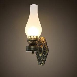 Vintage Antique Brass Kerosene Lamp White Glass Shade Indoor Wall Light Sconce