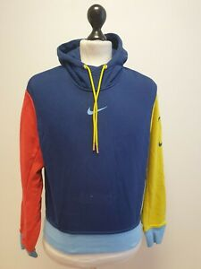 WOMENS NIKE BLUE YELLOW RED CROPPED PULLOVER BAGGY TRACKSUIT HOODIE UK M