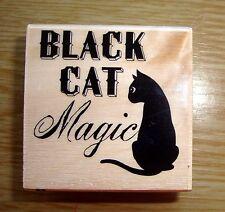 """Tampon en Bois modèle """"Black cat Magic"""" pour scrapbooking"""