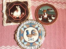 Vintage Quilted Farmhouse Images Wall Hangings In Embroidery Hoop Frames Set 3