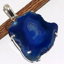 "Silver Plated Pendant 2"" Va-8772 Agate Geode Slice 925"