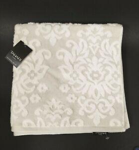 NEW TAHARI WHITE+LIGHT GRAY,GREY FLORAL PLUSH,100% COTTON BATH TOWEL