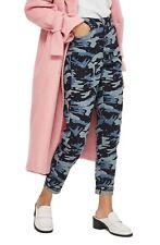 New TOPSHOP Camo Diamante Mom Jeans Crystal Jewel Embellished 28-29/8 NWT Indigo