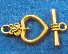 50Sets WHOLESALE Tibetan Antique Gold HEART Toggle Clasps Connectors Hook Q0715