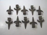 10 VTG Cast Iron ARCHITECTURAL SALVAGE Fence Post CAP FINIAL Spear FLEUR-DE-LIS