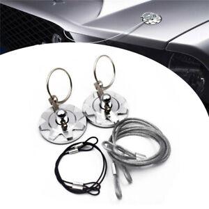 2x Silver Aluminum Hardware Bonnet Racing Car Hood Pin Lock Appearance Kit