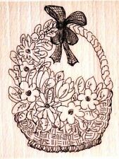 CREATIVE EXPRESSIONS Creative Stamping RUBBER STAMP Wood Mounted FLOWER BASKET