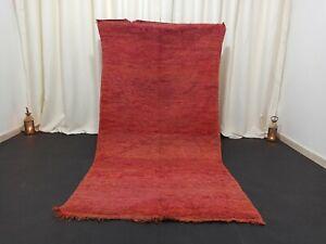 """Vintage Tribal Handmade Moroccan Rug 3'7""""x7'2"""" Orange Purple Wool Berber Carpet"""