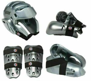 Silver Proforce Sparring Gear Set Head Foot Hand Shin Pads Martial Arts