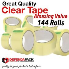 """144 Rolls Strong Quality Quiet 2"""" 66m Long Clear Sellotape Packing Parcel Tape"""