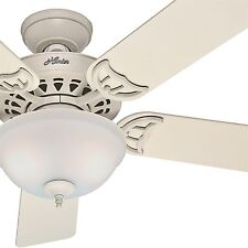 "Hunter Fan 52"" French Vanilla Ceiling Fan with Painted Frosted Glass Light Kit"
