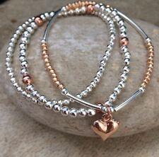 Conjunto de 3 Rosa Oro Plata Corazón de apilamiento con cuentas encanto Pulseras fideos Bola Regalo