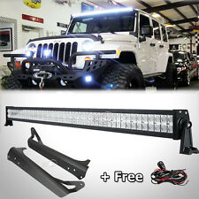 "52""Inch 700W LED Light Bar+Mounting Brackets Fit For Jeep Wrangler YJ+Wiring Kit"