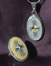 Unqiue Modernistic Zuni Oval Shaped Sunface Design Ring Sz 7 & Matching Pendant