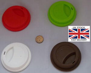Washable Travel Cup Silicone Lid.Choice of 8 colours-UK STOCK-FREE P&P