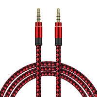 SDTEK Cable De Audio Auxiliar Trenzado Rojo Extra Largo De 3 Metros Cable