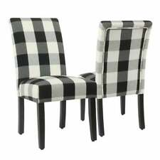 HomePop Black Plaid Parsons Dining Chair (Set of 2) Black Mid-Century Modern
