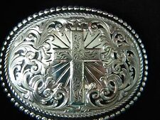 GIST CROSS BELT BUCKLE NEW IN BOX WESTERN Inspirational Silver electroplate
