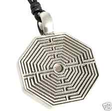 30B Silver PEWTER Greek LABYRINTH Maze PENDANT Necklace