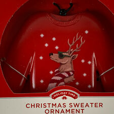 Ugly Christmas Red Sweater Ornament by Holiday Time Reindeer New in Box