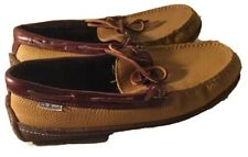 LL Bean Brown Leather Bow Moccasin House Boat Driving Slippers Shoes Men's 9 M