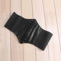 Faux Band Leather Shaper Waist Elastic Wide Belt Waistband Corset Stretch