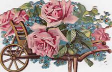 Schönes Glanzbild Oblate Blumen Rosen Schmuck Wagen Schubkarre