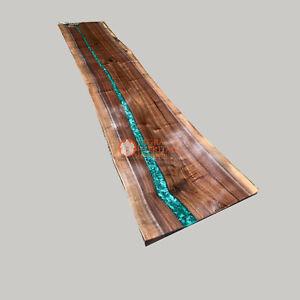 Beautiful Liveedge Crystal Clear Bar Tabletop Acacia Epoxy Resin Dining Interior