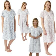 Ladies Front Opening Short Sleeved Nightdress Womens Floral Button Through 10-30