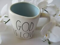 "Rae Dunn By Magenta ""GOD IS LOVE"" White Ceramic Coffee/Tea Mug Black Letters"