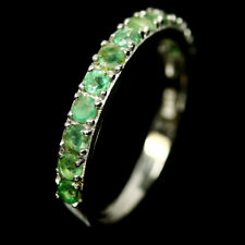 NATURAL GREEN EMERALD RING 925 STERLING SILVER SIZE7.75