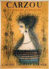 """""""CARZOU: LE PARADIS TERRESTRE"""" Affiche originale entoilée Litho MOURLOT 1960"""