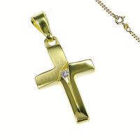 Anhänger Kreuz Zirkonia Stein auch Kette  333 Gold Kommunion Konfirmation Neu
