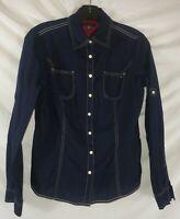 Tommy Hilfiger Small Blue Women's Top Button Down Shirt Long Sleeve