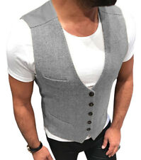Casual Men Vests Herringbone Tweed Waistcoat Vintage Herringbone Wool Retro Slim