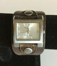 Kenneth Cole Reaction Women Watch Leather Band Square Face w/ New Battery