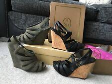 2 pairs Ash Mega leather suede Wedges platforms sandals, black & stone,Eur 37