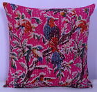 PINK INDIAN BIRD FLORAL PILLOW CUSHION COVER THROW Ethnic Kantha Home Decor 16""