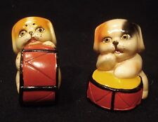 TWO VINTAGE RETRO CERAMIC CLAY DOGS PENCIL SHARPENERS