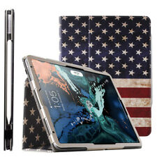 For Apple iPad Pro 11 2018 Case Synthetic Leather Stand Cover American Flag
