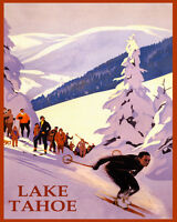 POSTER WINTER SPORT SKI LAKE TAHOE MOUNTAINS SKIING USA VINTAGE REPRO FREE S/H