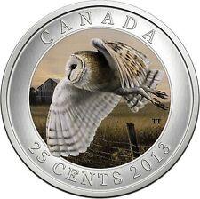 2013 Barn Owl 25-Cent Coloured Coin in Case & COA
