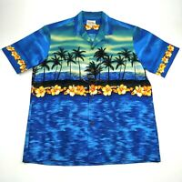 Royal Creations Hawaiian Mens XL Shirt Aloha Blue Aloha Palm Tree Sunset Ocean