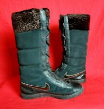 Nike Women 8.5 Black Brown Soft Hi Top Lace Up Sneaker Boot Shoe