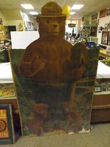"RARE Vintage Smokey the Bear ORIGINAL Masonite Sign GAS OIL COLA SODA 69"""